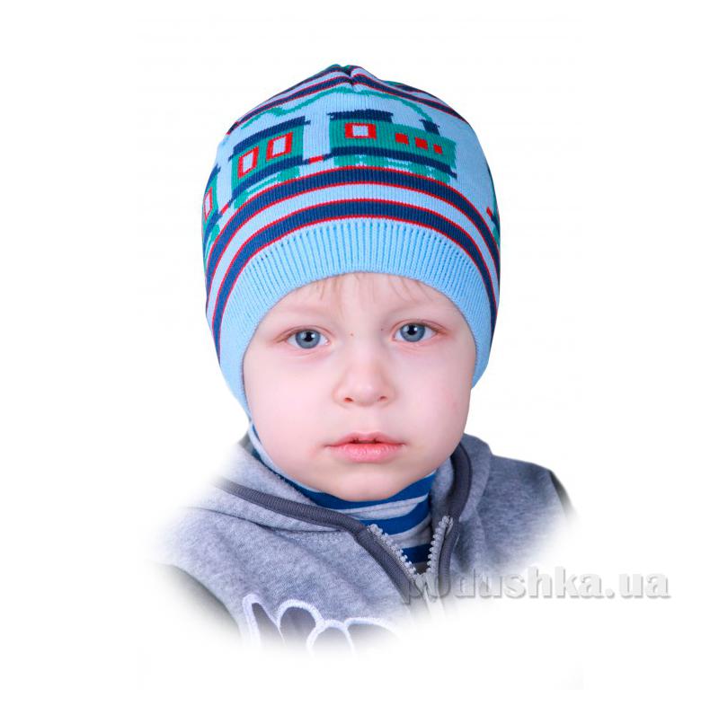Шапочка для мальчика Бабасик Жека голубая