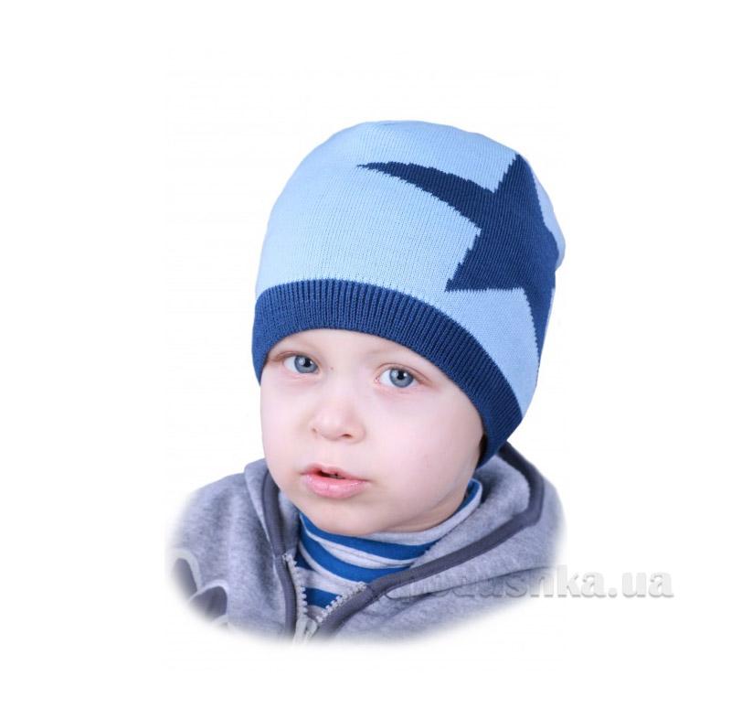 Шапочка для мальчика Звезда Бабасик голубая