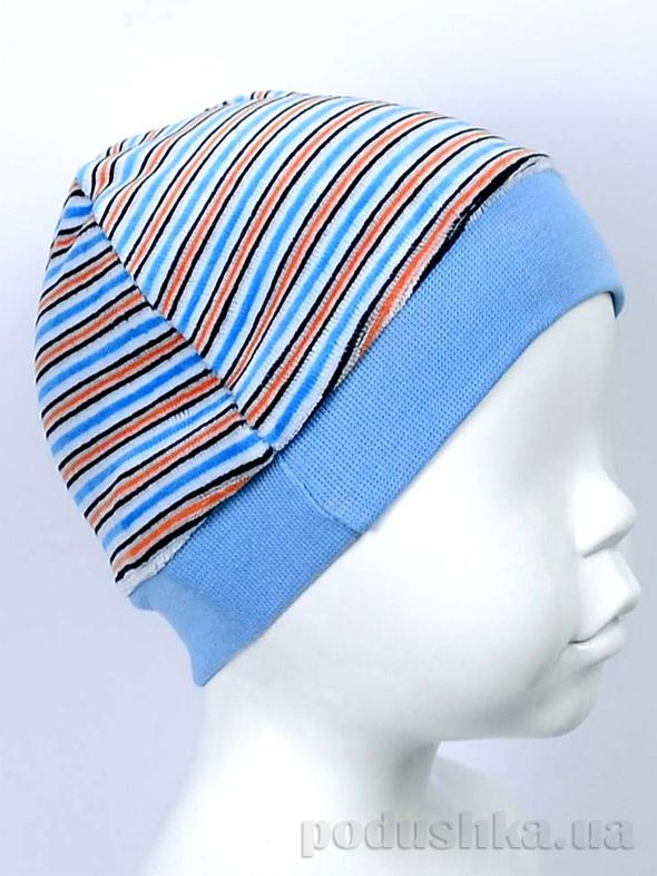 Шапочка для малышей Татошка 3/10 голубая в разноцветную полоску