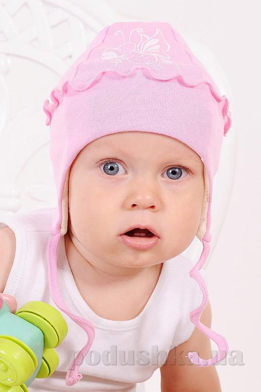 Шапочка трикотажная для девочки с оборкой Модный карапуз 03-00534 розовая рибана