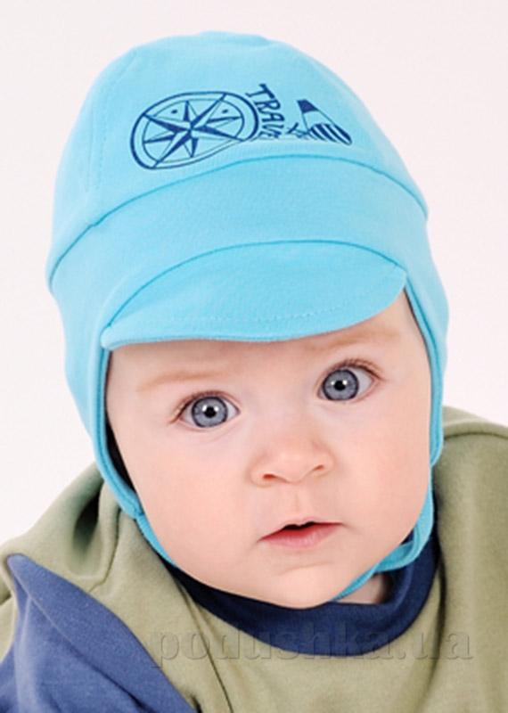 Шапочка трикотажная для мальчика с козырьком Модный карапуз 03-00536 голубая рибана