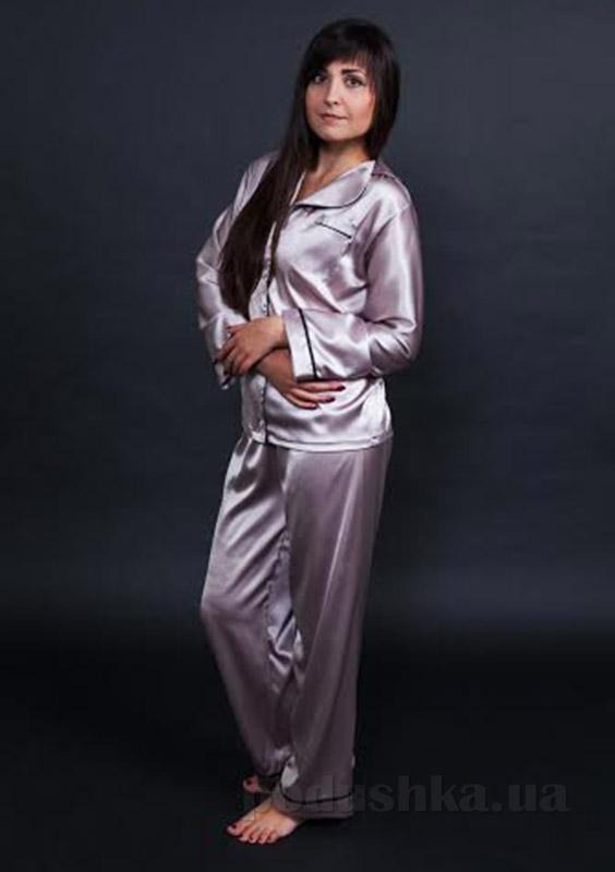 Шелковая женская пижама Имате сиреневая