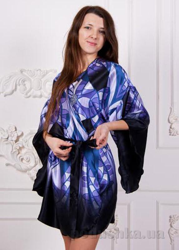 Шелковый халат Имате синий принт