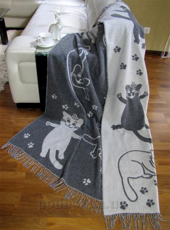 Шерстяной плед Влади Cats серый