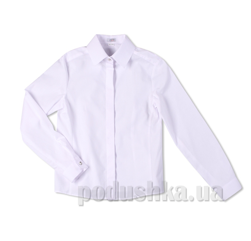 Школьная блуза с декоративной планкой Юность 314 белая