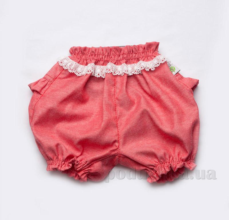 Шорты-панталоны с кружевом для девочек Модный карапуз 03-00497 коралловые