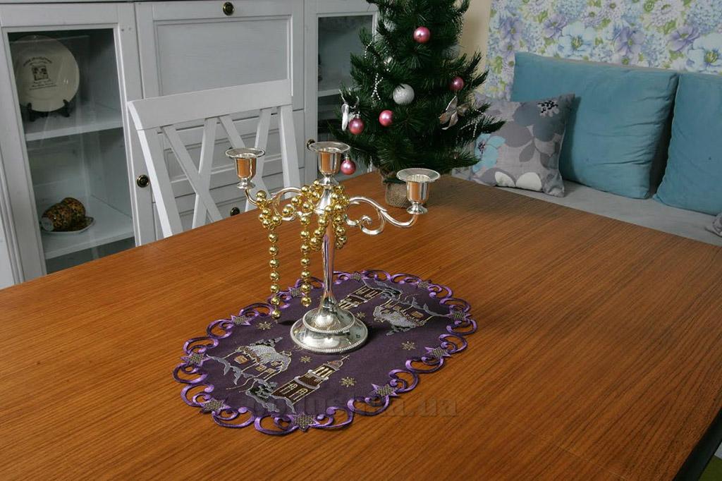 Салфетка атласная новогодняя 119037 фиолетовый