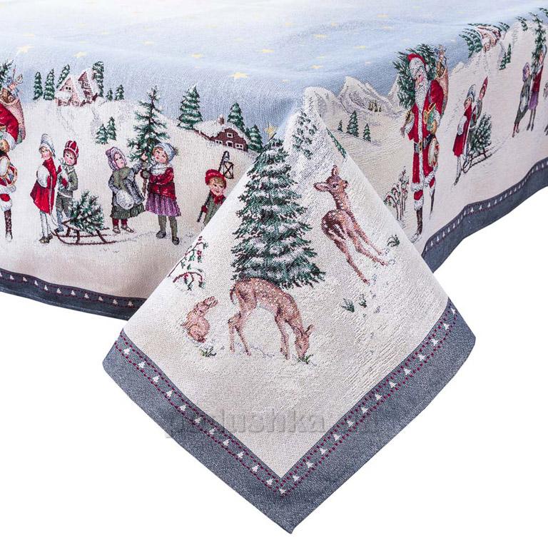 Скатерть гобеленовая новогодняя LiMaSo Зимняя сказка