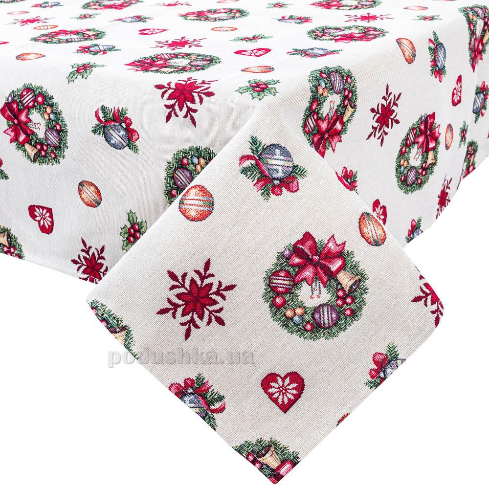 Скатерть гобеленовая новогодняя LiMaSo Звездопад игрушек прямоугольная