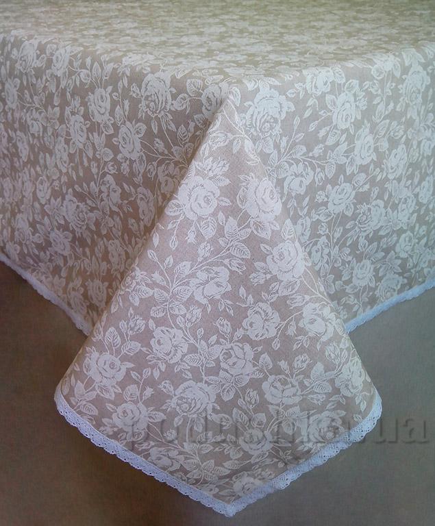 Скатерть Прованс White Rose с кружевной тесьмой