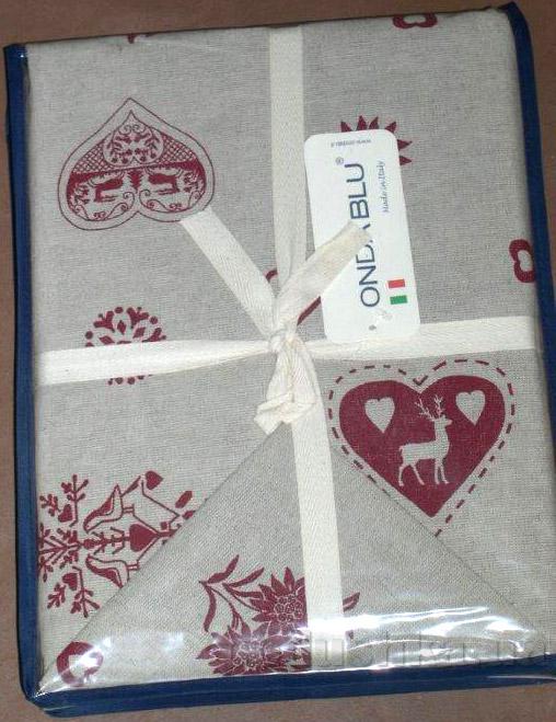 Скатерть с салфетками Ondablu Misto rosso