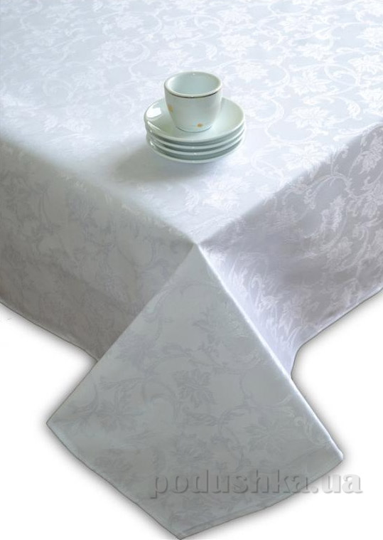 Скатерть жаккардовая Perrini Белые цветы