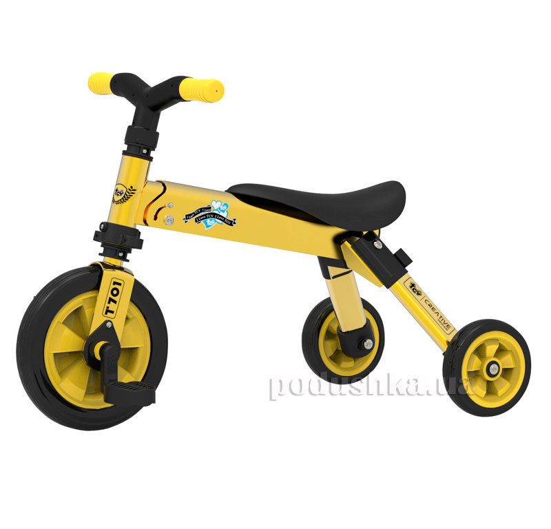 Складной трехколесный велосипед (2в1) TCV 36774 желтый   TCV