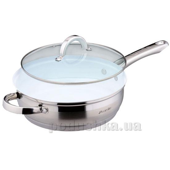 Сковорода 24 см из нержавеющей стали с керамическим покрытием Kamille 4127SKER