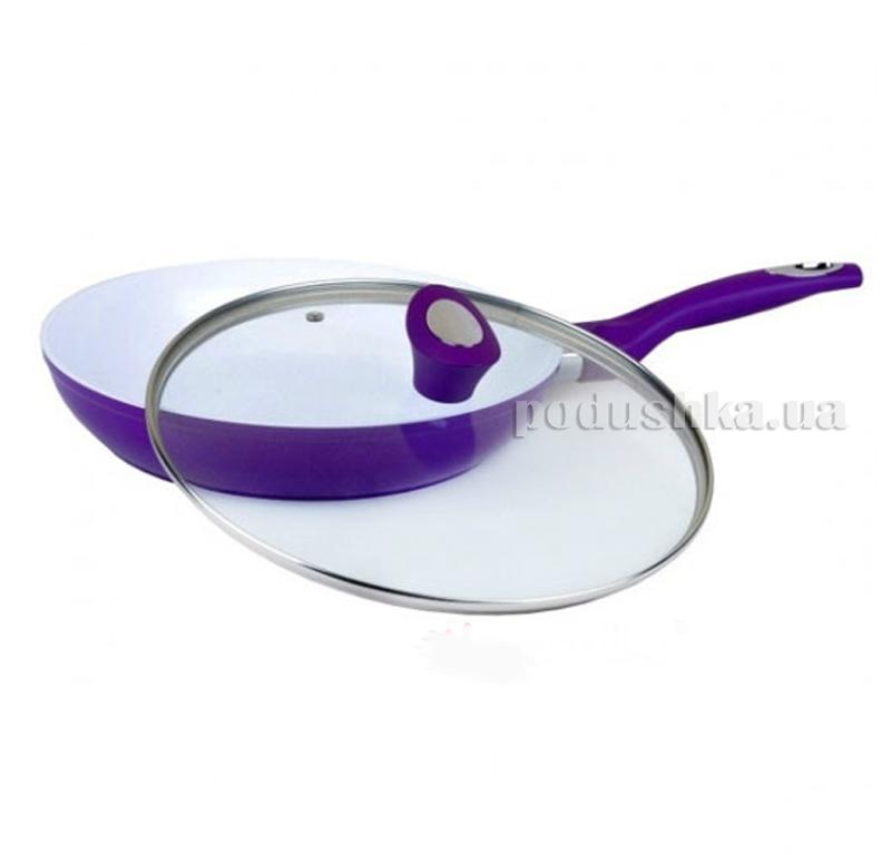 Сковорода 28см с крышкой и керамическим покрытием из литого алюминия Kamille 4203A