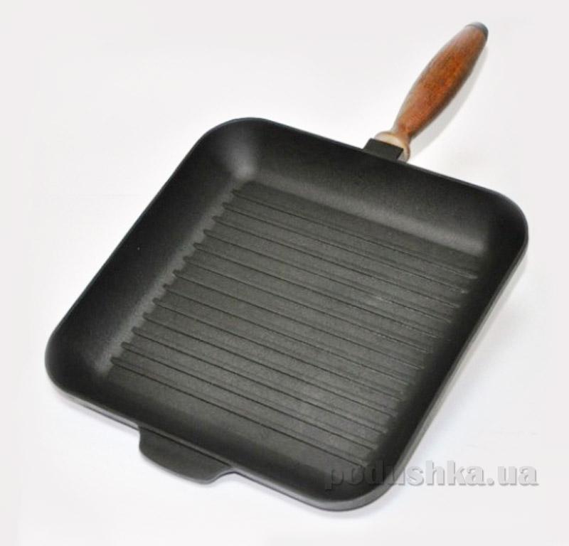 Сковорода-гриль 28 см квадратная з деревянной ручкой Chugunoff 280-40-002K