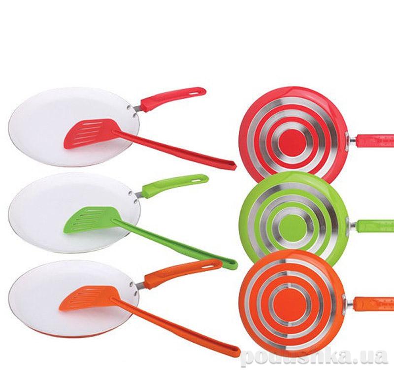 Блинная сковородка керамическая + лопатка 23 см Maestro Rainbow