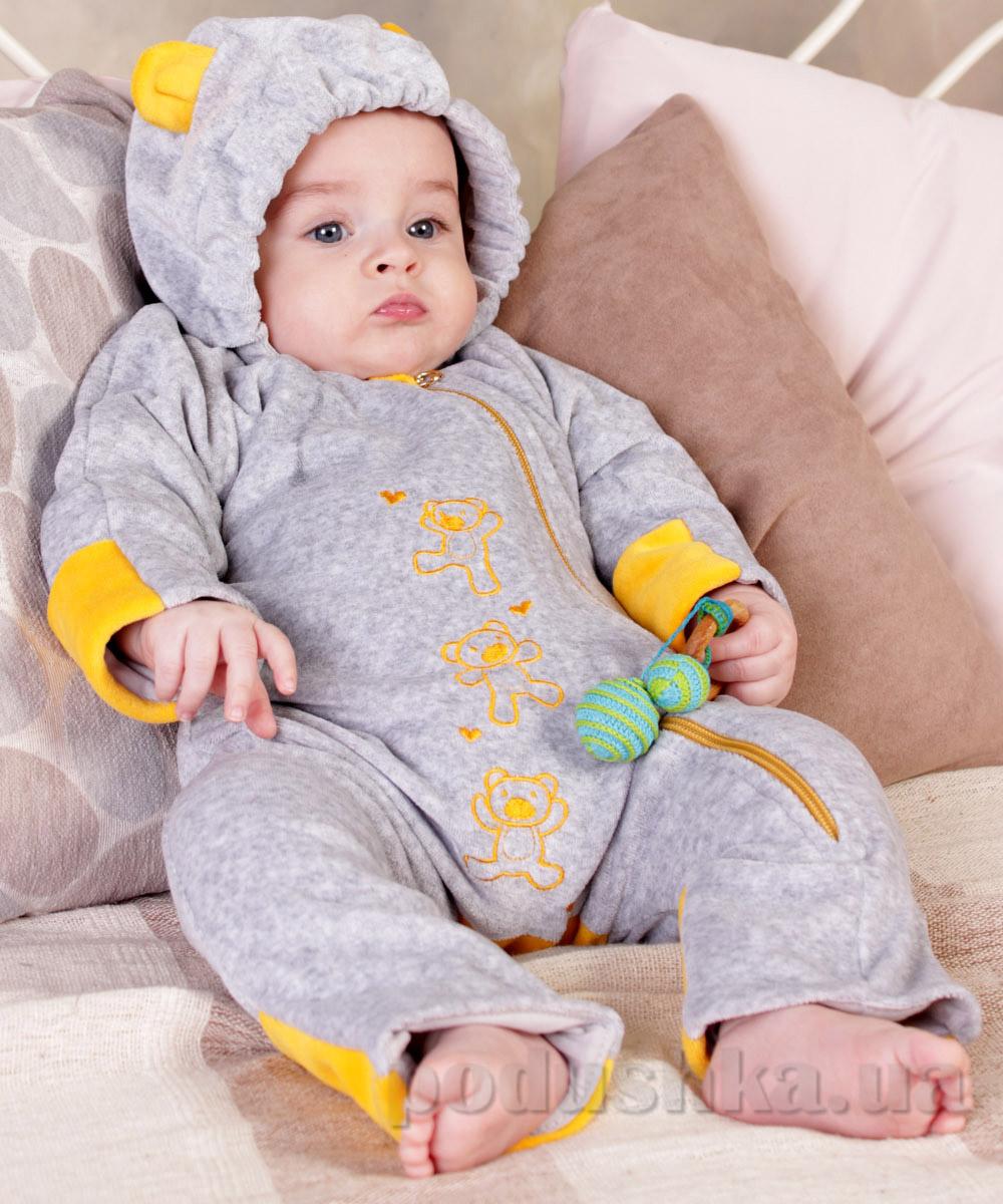 Слингокомбинезон My baby велюровый для новорожденного Модный карапуз 03-00388