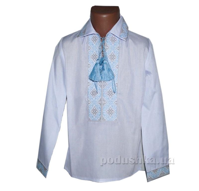 Сорочка вышитая для мальчика Ромбы Bimbissimi СХ-010 голубая