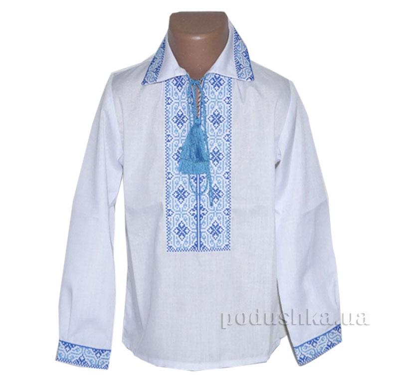 Сорочка вышитая для мальчика Ромбы Bimbissimi СХ-010 синяя