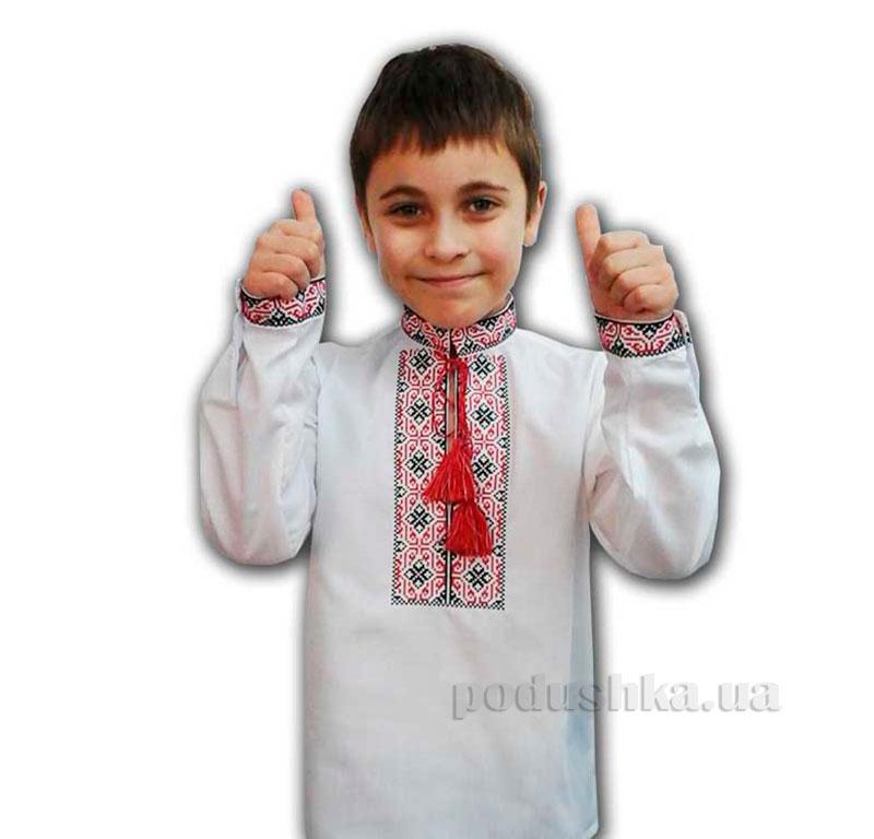 Сорочка вышитая для мальчика Шахматы Bimbissimi СХ-010 красная
