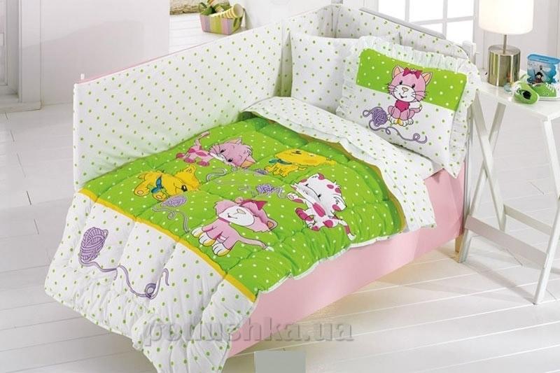 Спальный комплект для детской кроватки Kristal Kidcik V02 салатовый