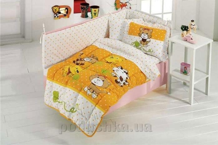 Спальный комплект для детской кроватки Kristal Kidcik V04 желтый