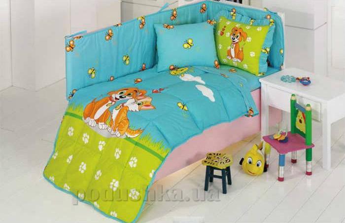 Спальный комплект для детской кроватки Kristal Pati бирюзовый