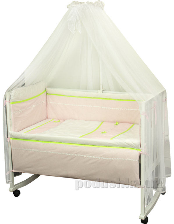 Спальный комплект для детской кроватки Лапушка розовый