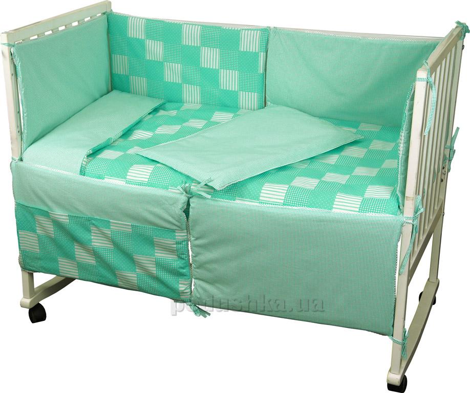 Купить:  Спальный комплект для детской кроватки Руно 977 Клеточка зеленый   Руно