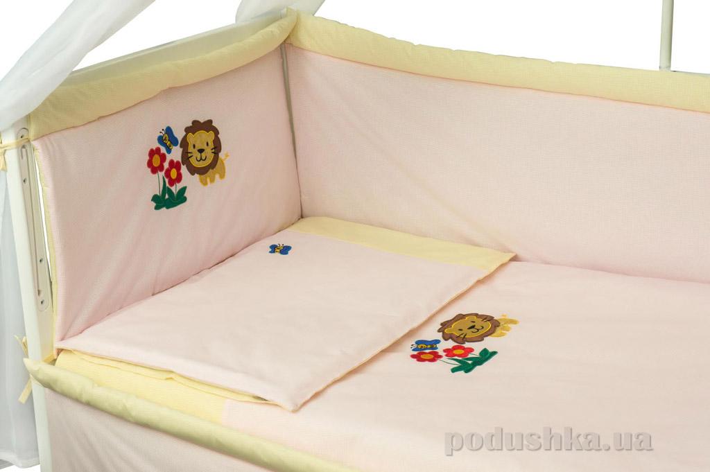 Спальный комплект для детской кроватки Руно 977АУ Львенок розовый