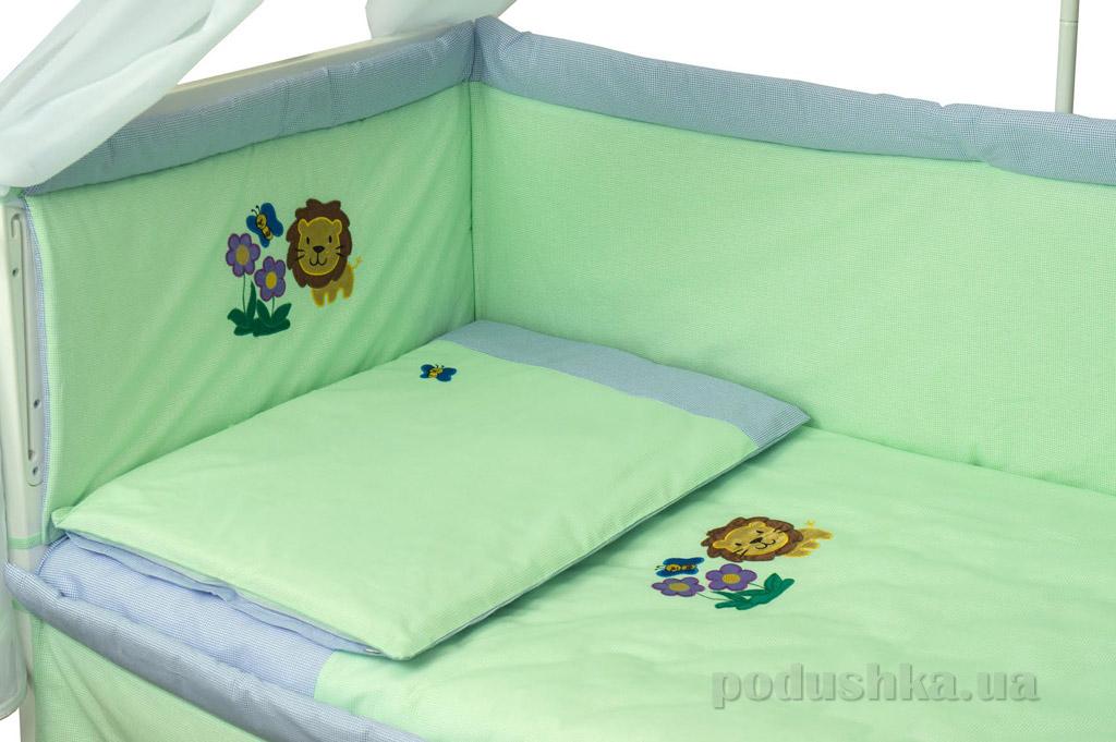 Спальный комплект для детской кроватки Руно 977АУ Львенок салатовый