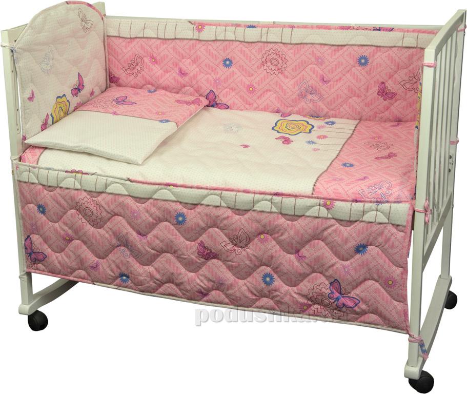 Спальный комплект для детской кроватки Руно 977У Бабочки и цветочки розовый