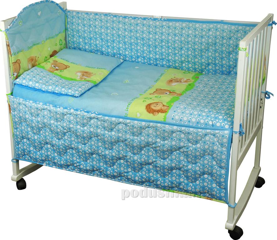 Купить:  Спальный комплект для детской кроватки Руно 977У Ёжик голубой   Руно