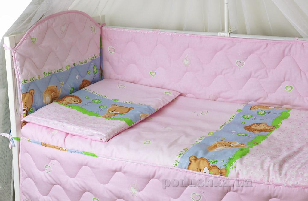 Спальный комплект для детской кроватки Руно 977У Ёжик розовый