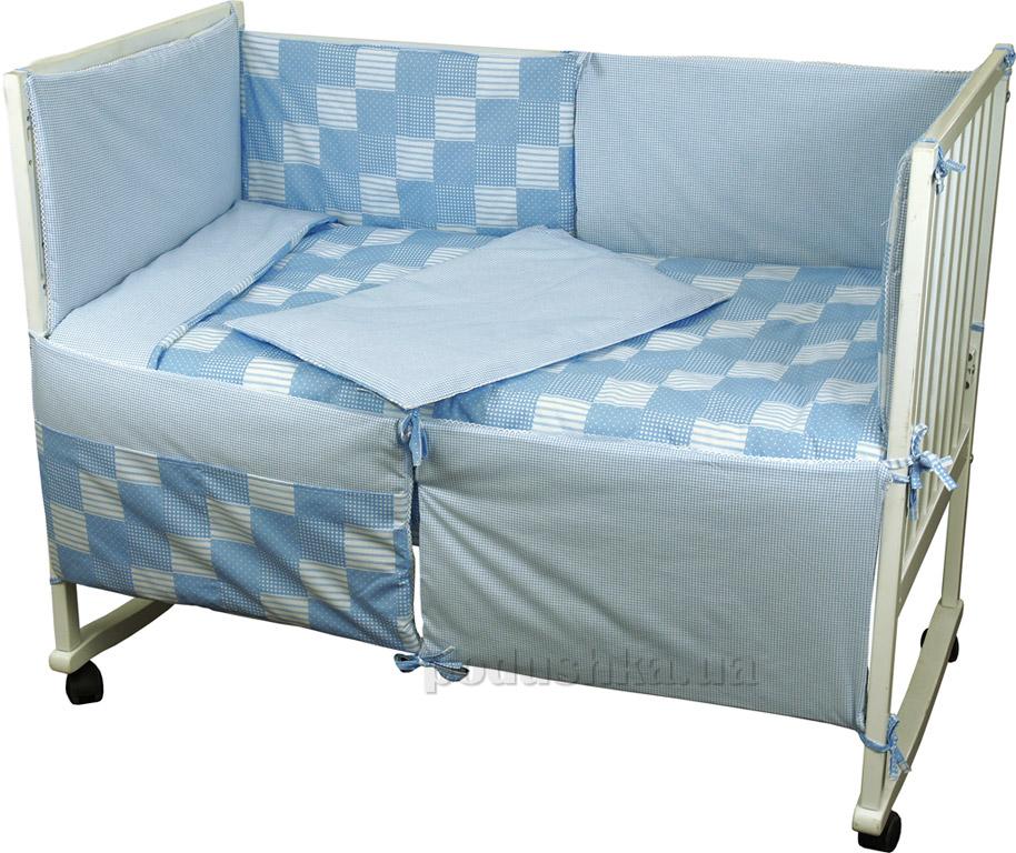Спальный комплект для детской кроватки Руно 977 Клеточка голубой   Руно