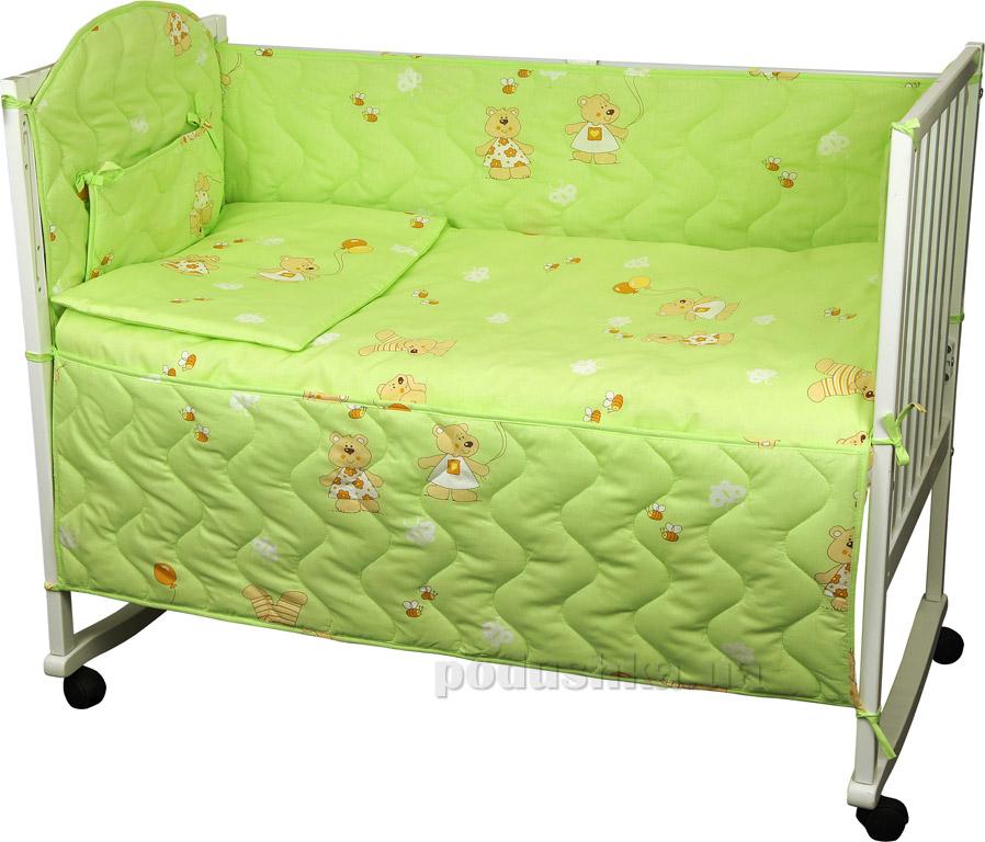 Спальный комплект для детской кроватки Руно 977У Мишка с шариком салатовый