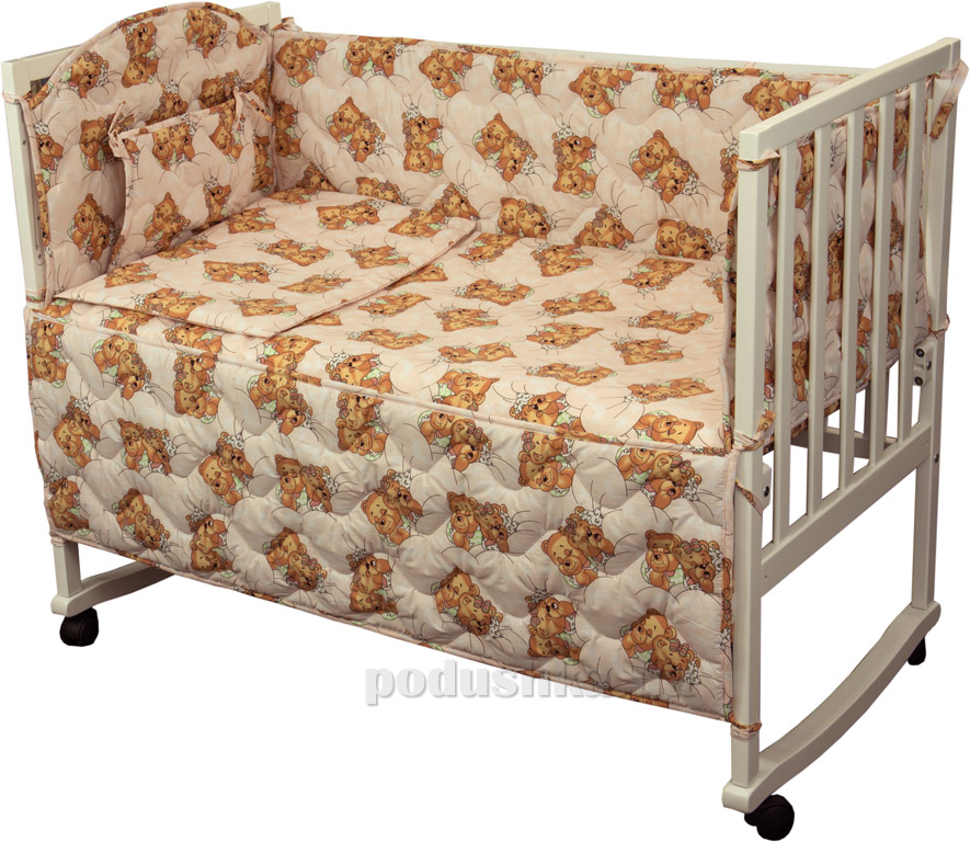 Купить:  Спальный комплект для детской кроватки Руно 977У Мишки спят розовый   Руно