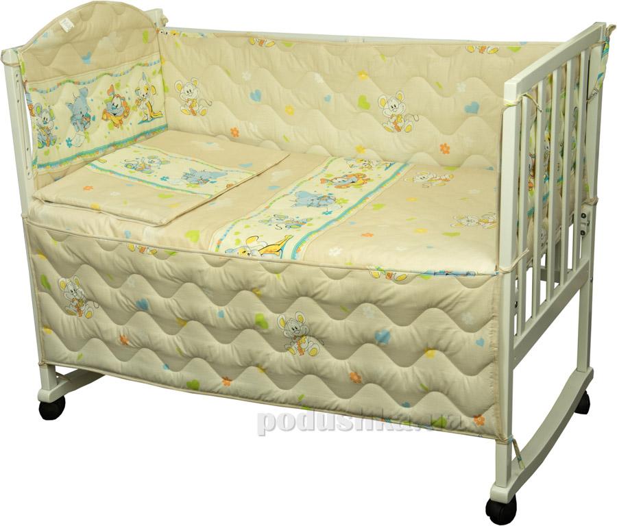 Спальный комплект для детской кроватки Руно 977У Мышка с сыром бежевый