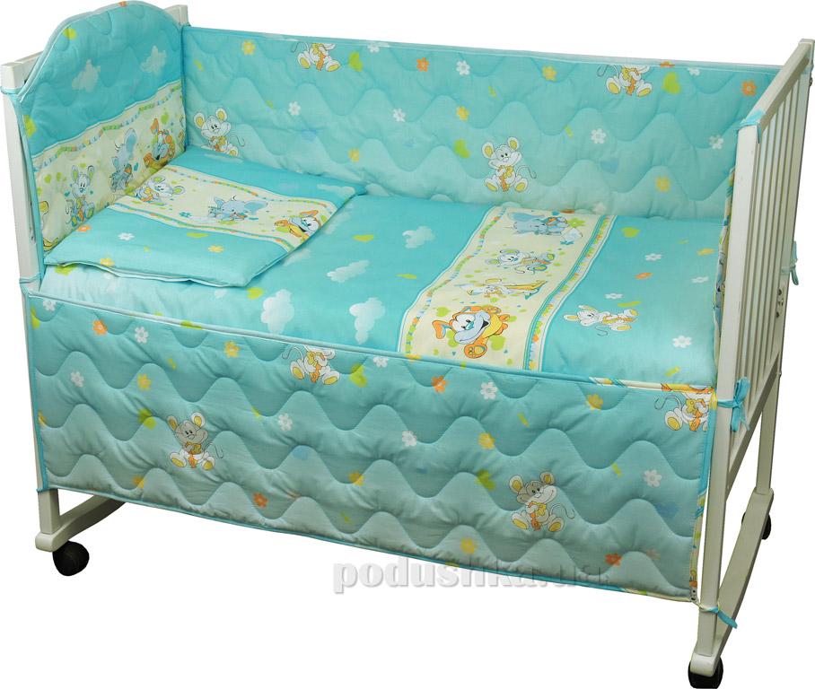 Спальный комплект для детской кроватки Руно 977У Мышка с сыром голубой