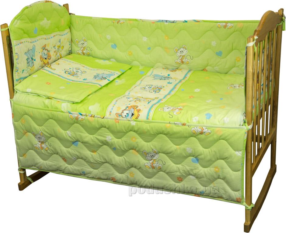Спальный комплект для детской кроватки Руно 977У Мышка с сыром салатовый