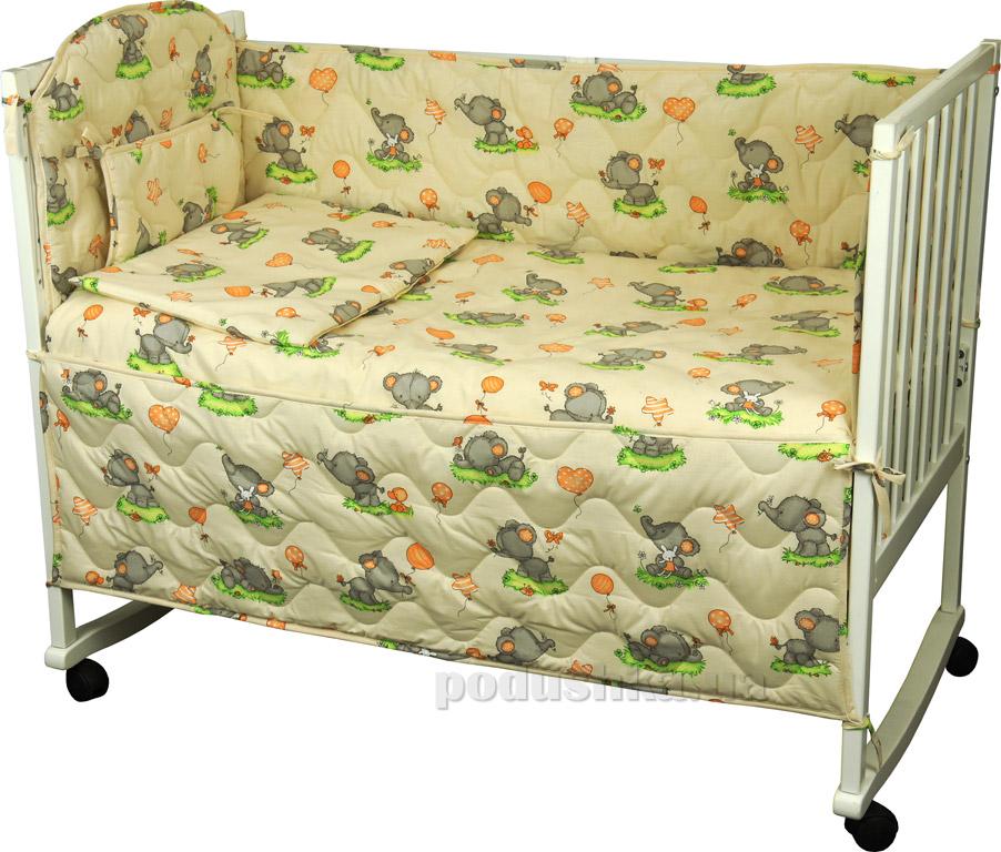 Спальный комплект для детской кроватки Руно 977У Слоник бежевый