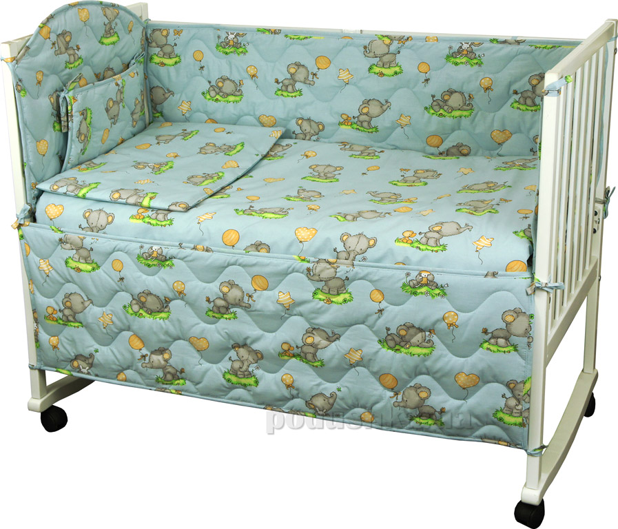 Спальный комплект для детской кроватки Руно 977У Слоник голубой