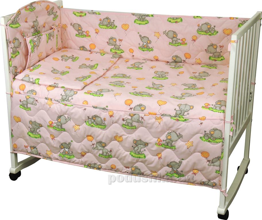 Спальный комплект для детской кроватки Руно 977У Слоник розовый