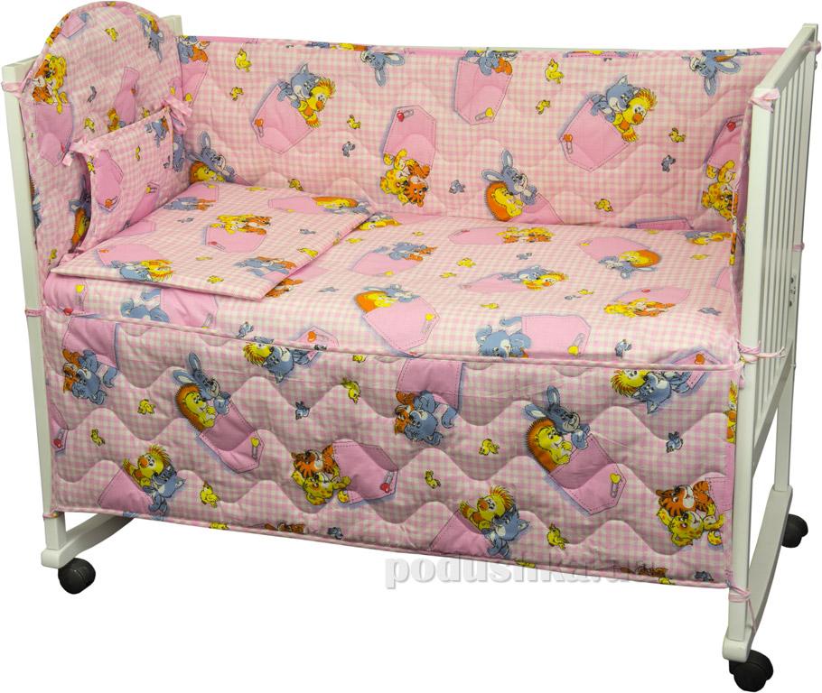 Купить:  Спальный комплект для детской кроватки Руно 977У Звери в кармашках розовый   Руно