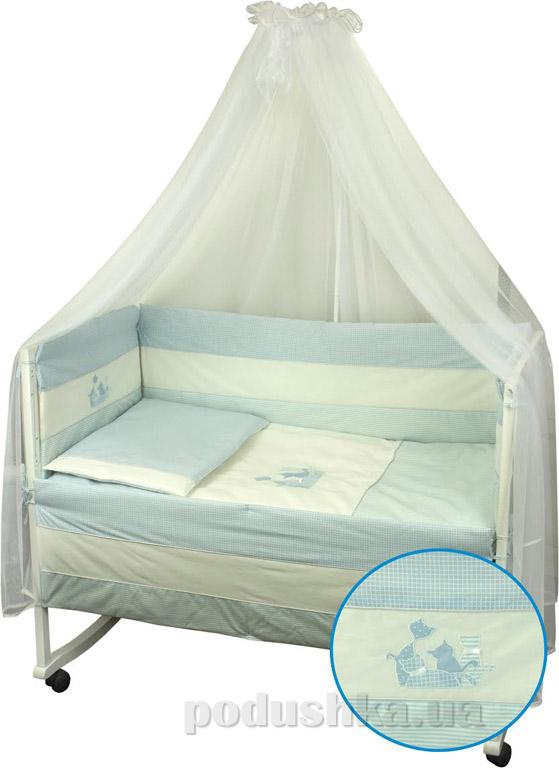 Спальный комплект для детской кроватки Руно Котята голубой