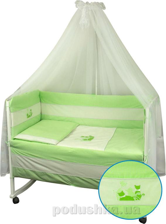 Спальный комплект для детской кроватки Руно Котята салатовый