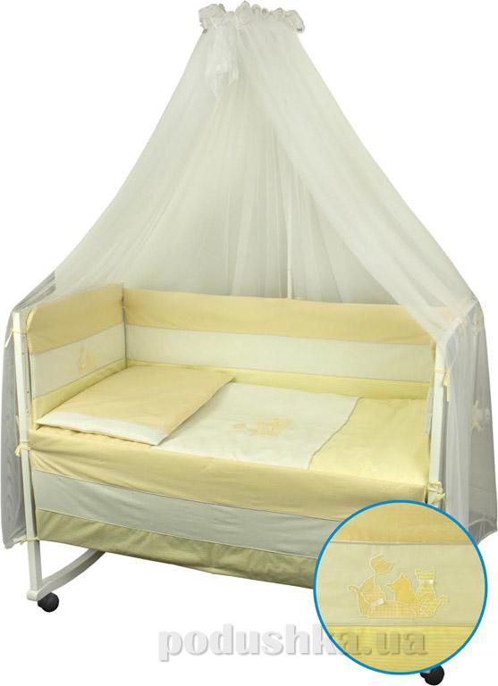 Спальный комплект для детской кроватки Руно Котята желтый
