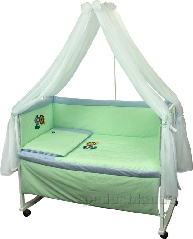 Спальный комплект для детской кроватки Руно Львенок салатовый