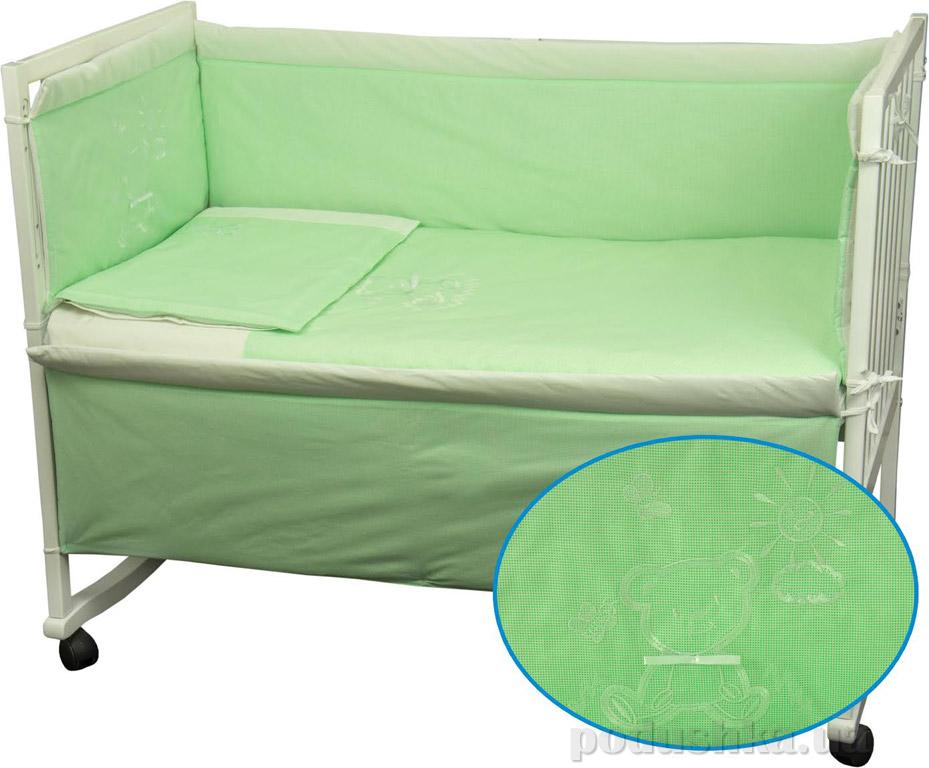 Спальный комплект для детской кроватки Руно Мишка салатовый